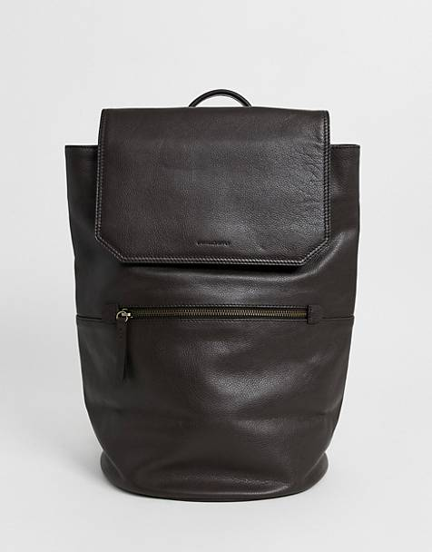 ASOS DESIGN leather backpack in chocolate brown and front pocket zip