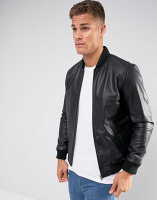 ASOS DESIGN leather bomber jacket in black