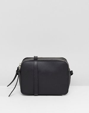 Asos Design Leather Camera Cross Body Bag