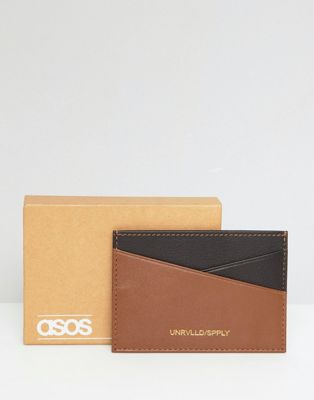 Image 1 of ASOS DESIGN leather card holder in brown & tan