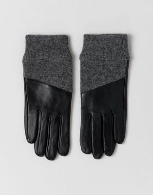 Image 1 of ASOS DESIGN leather gloves with rib cuffs and touch screen
