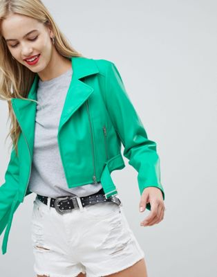 ASOS DESIGN Leather Look Biker