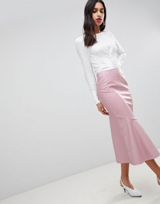 ASOS DESIGN leather look midi skirt with kickflare