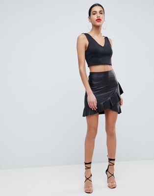 Image 1 of ASOS DESIGN leather look mini skirt with frill hem