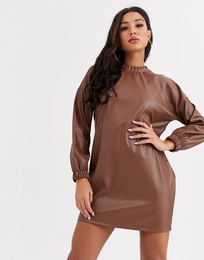 ASOS DESIGN leather look open back dress