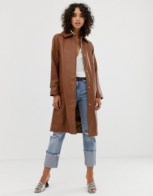 ASOS DESIGN leather look trench coat