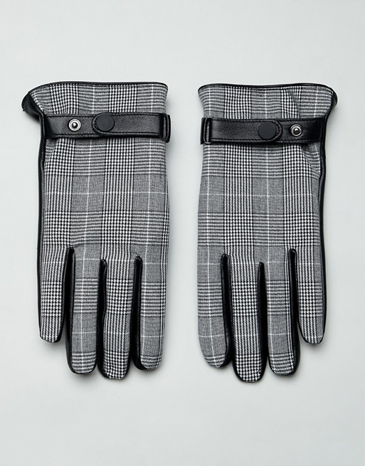 Image 1 of ASOS DESIGN leather prince of wales check touchscreen gloves in black