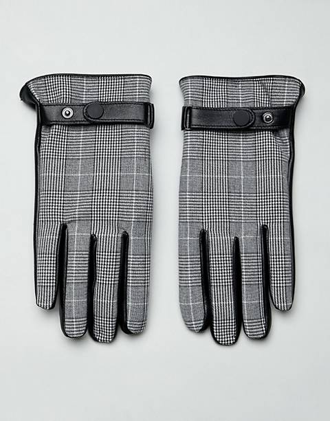 ASOS DESIGN leather prince of wales check touchscreen gloves in black