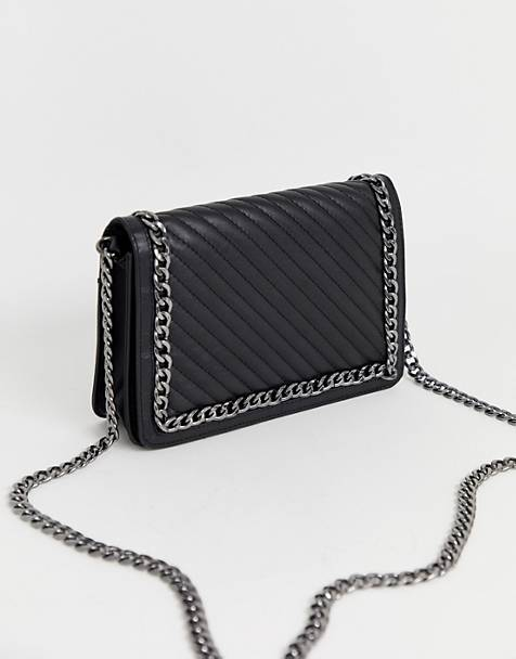 ASOS DESIGN leather quilted chain detail shoulder bag