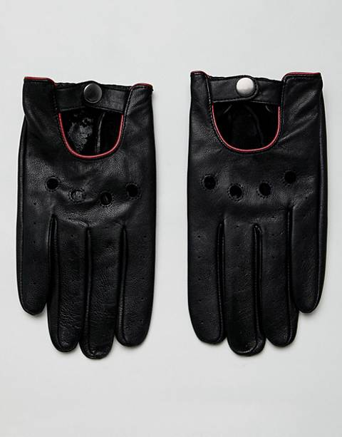 ASOS DESIGN leather touchscreen driving gloves in black with red piping