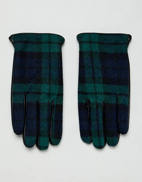 ASOS DESIGN leather touchscreen gloves in black with check detail