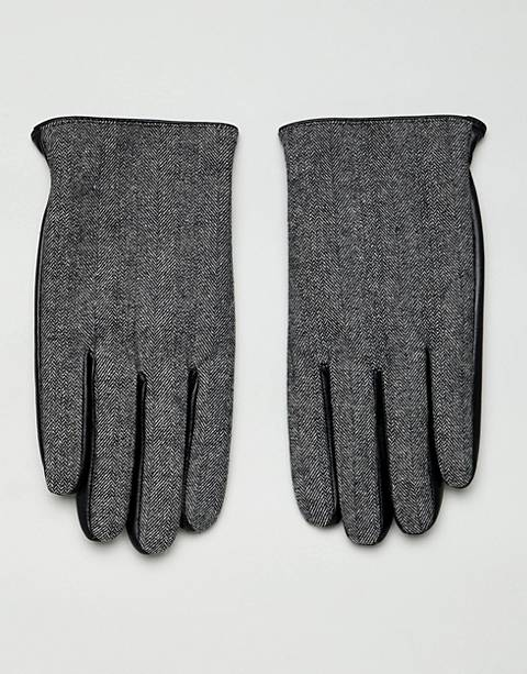 ASOS DESIGN leather touchscreen gloves in black with herringbone detail