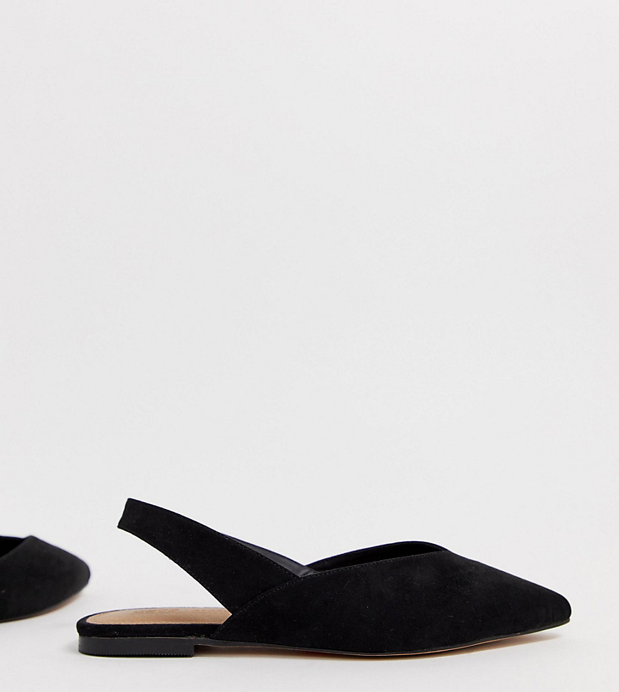 ASOS DESIGN – Leisure – Flache Ballerinas in Schwarz mit breiter Passform