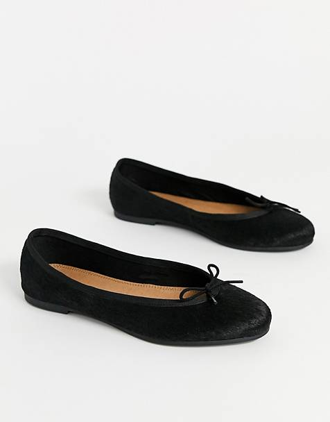 ASOS DESIGN Lenor leather bow ballet flats in black