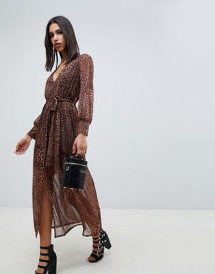 ASOS DESIGN leopard print maxi dress with belt