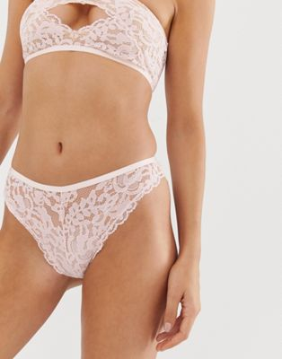 Image 1 of ASOS DESIGN Lerae Lace brazilian pant with back opening