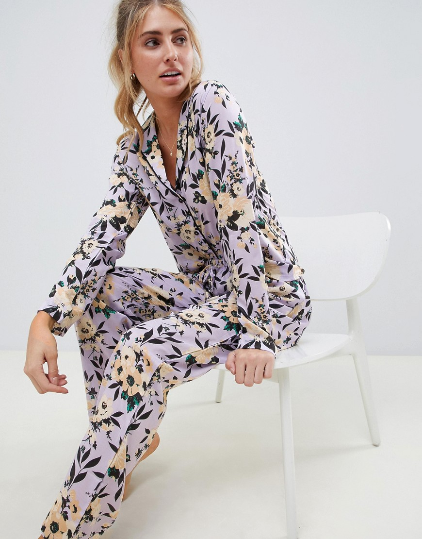 Asos Design Lilac Floral Traditional Pyjama Set In 100 Percents Modal by Asos Design