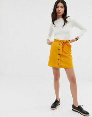 Image 1 of ASOS DESIGN linen mini skirt with button through detail