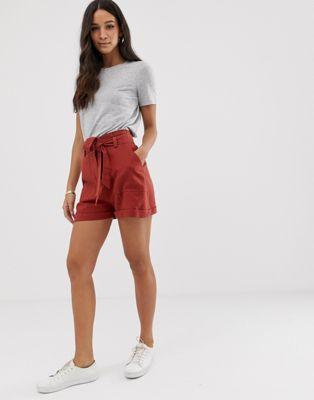 ASOS DESIGN linen tie waist shorts