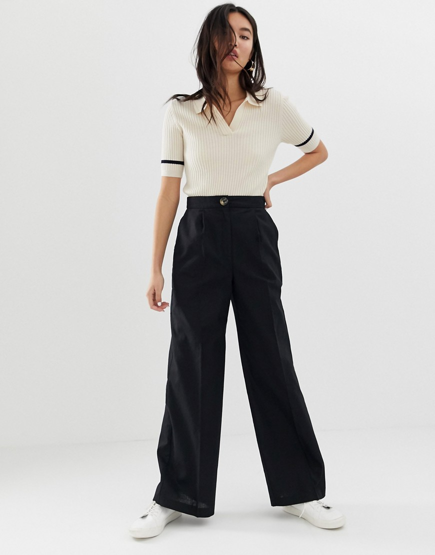 Asos Design Linen Wide Leg Pants With Horn Button by Asos Design