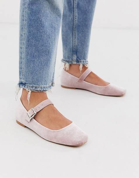 ASOS DESIGN Links mary jane ballet flats in blush velvet