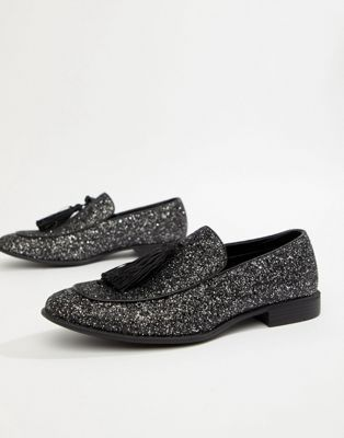 ASOS DESIGN loafers in black glitter
