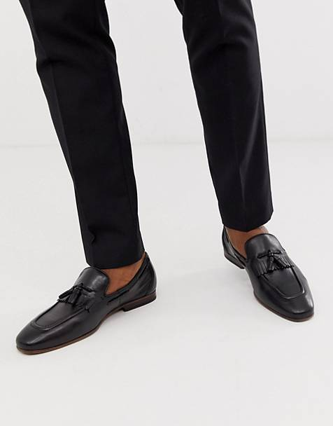ASOS DESIGN loafers in black leather with fringe detail and natural sole