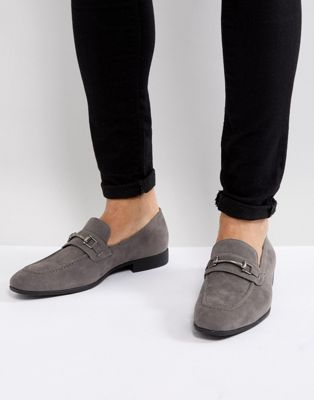 Image 1 of ASOS DESIGN loafers in gray faux suede with snaffle detail