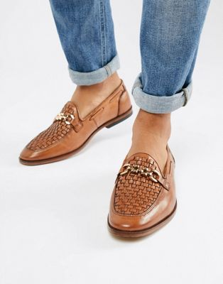ASOS DESIGN loafers in tan leather with woven detail and chain