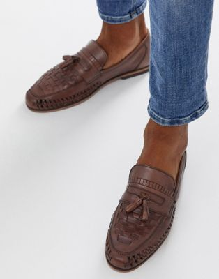 ASOS DESIGN Loafers In Woven Tan Leather With Tassel Detail
