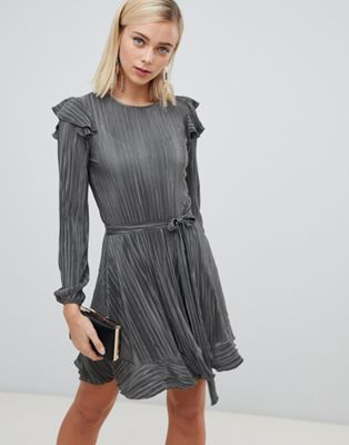 ASOS DESIGN long sleeve frill belted plisse dress