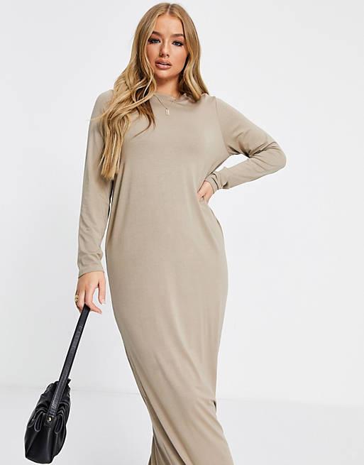 ASOS DESIGN long sleeve maxi t-shirt dress in taupe