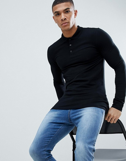 ASOS DESIGN long sleeve muscle fit jersey polo in black