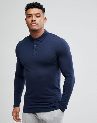 ASOS DESIGN long sleeve muscle fit polo in navy