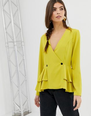 Image 1 of ASOS DESIGN long sleeve neon tux top with button detail