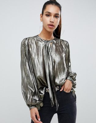 Image 1 of ASOS DESIGN long sleeve oversized blouse in metallic with pussybow