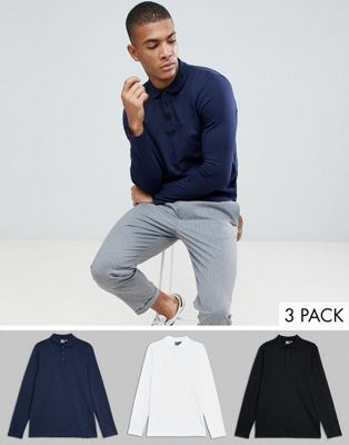ASOS DESIGN long sleeve polo in jersey 3 pack SAVE