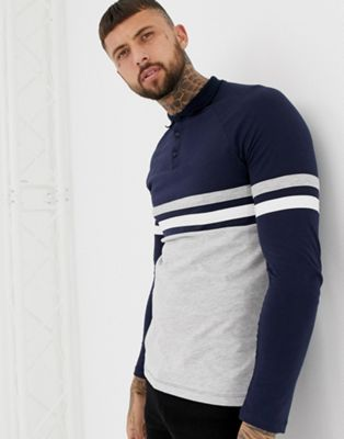 ASOS DESIGN long sleeve polo shirt with contrast body and sleeve panels in navy/grey