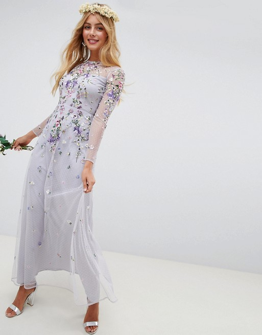 ASOS DESIGN long sleeve pretty embroidered maxi dress