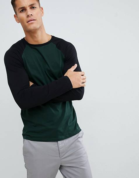 ASOS DESIGN long sleeve raglan t-shirt with crew neck in green