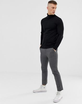 ASOS DESIGN long sleeve roll neck in black