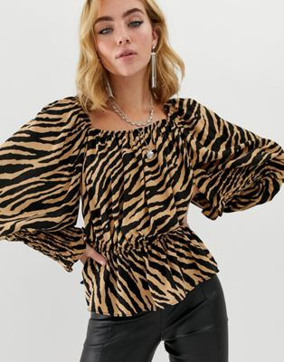 ASOS DESIGN long sleeve square neck top with shirred sleeve detail in tiger animal print