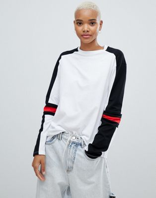 ASOS DESIGN long sleeve t-shirt in mono colour block