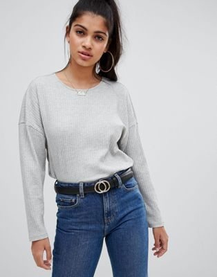 ASOS DESIGN long sleeve t-shirt with batwing in grey