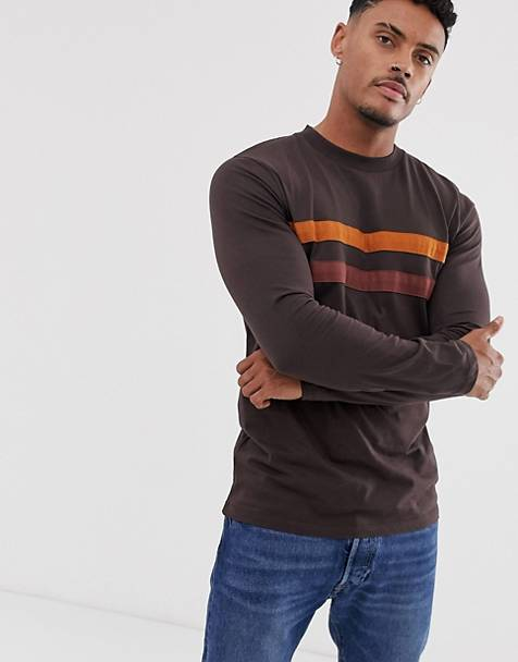 0e6cf7855 ASOS DESIGN long sleeve t-shirt with contrast panels in brown