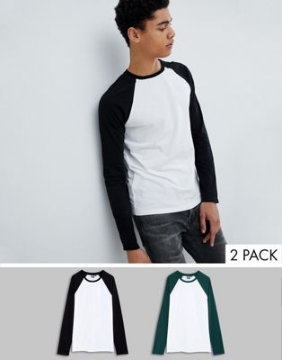 ASOS DESIGN long sleeve t-shirt with contrast raglan sleeves pack SAVE