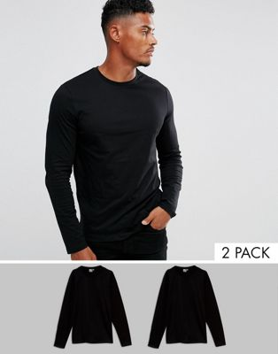 ASOS DESIGN long sleeve t-shirt with crew neck 2 pack SAVE
