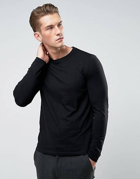 ASOS DESIGN long sleeve t-shirt with crew neck black