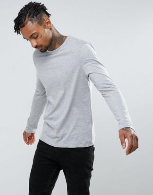 ASOS DESIGN long sleeve t-shirt with crew neck in grey