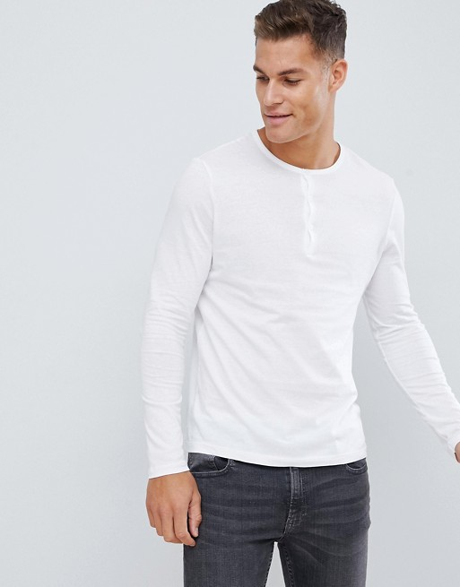 Image 1 of ASOS DESIGN long sleeve t-shirt with grandad neck in white